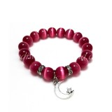 Dark Pink Cat Eye Glass Bead Bracelet