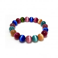 Colorful Dark tone Cat Eye Glass Bead Bracelet