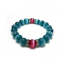 Sky Blue and Dark Pink Cat Eye Glass Bead Bracelet