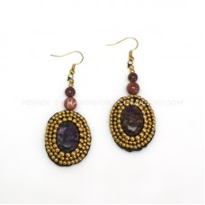 Crochet Earring with Brass Beads round Stone (MIX01)