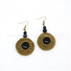 Crochet Earring with Brass Beads round Stone (MIX02)