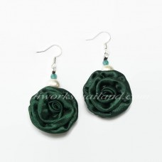 Silk Earring (Dark Green)