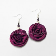 Silk Earring (Red Purple)