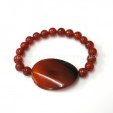 Carnelian Bracelet 8 mm. with Agate Stone