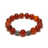 Carnelian Bracelet 12 mm. with Metal Beads