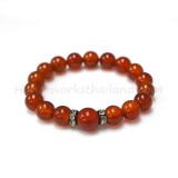 Carnelian Bracelet 10 mm. with Rhodium Crystal