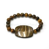 Tiger Eye 8mm Decorated with Shell Bead Bracelet