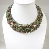 Half Moon Necklace (Unakite)