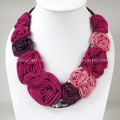 Silk Flower V-Shaped Necklace (Pink)