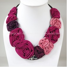 Silk Flower V-Shaped Necklace (Pink)