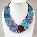 Silk Flower V-Shaped Necklace (Purple)
