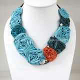 Silk Flower V-Shaped Necklace (Sky Blue)