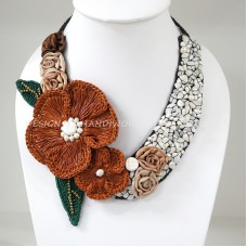 Flower Crochet V-Shaped Necklace 01 (Brown)