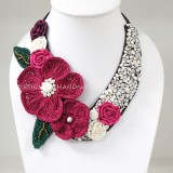 Flower Crochet V-Shaped Necklace 01 (Pink)
