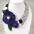 Flower Crochet V-Shaped Necklace 01 (Purple)