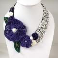 Flower Crochet V-Shaped Necklace 01 (Purple)