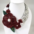 Flower Crochet V-Shaped Necklace 01 (Red)
