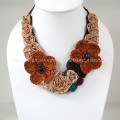 Flower Crochet V-Shaped Necklace 02 (Brown)