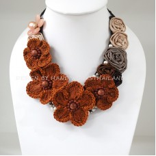 Flower Crochet V-Shaped Necklace 03 (Brown)