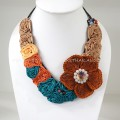 Flower Crochet V-Shaped Necklace 04 (Brown)