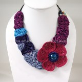 Flower Crochet V-Shaped Necklace 04 (Purple)