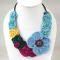 Flower Crochet V-Shaped Necklace 04 (Sky Blue)