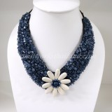 Flower  V-Shaped Necklace (Navy Blue)