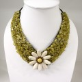 Flower  V-Shaped Necklace (Yellow)