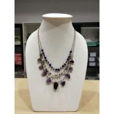 3 Line freeform stone necklace (ametis)