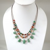 3 Line freeform stone necklace (Green Jade)