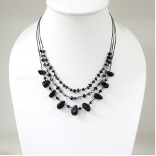 3 Line freeform stone necklace (Onyx)