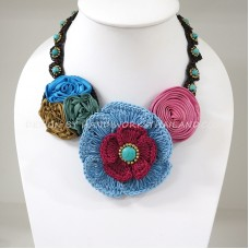 Crochet Flower Necklace 02-MIX05