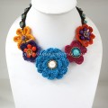 Crochet Flower Necklace 02-MIX06