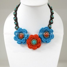 Crochet Flower Necklace 04-MIX03