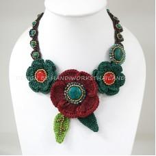 Crochet Flower Necklace 06-MIX05