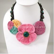 Crochet Flower Necklace 08-MIX03