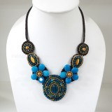 Flower necklace from teardrop stone (Blue)