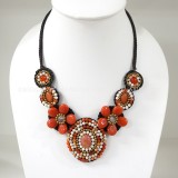 Flower necklace from teardrop stone (Orange)