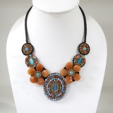Flower necklace from teardrop stone (Orange03)