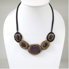 Crochet Necklace with Agate Pendant (MIX01)