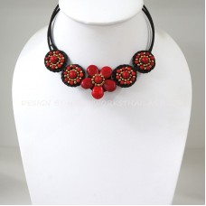 Flower howlite choker necklace (Red)