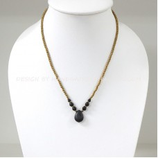 Brass Beads Necklace With Teardrop Pendant (BLACK)