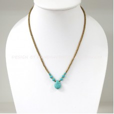Brass Beads Necklace With Turquoise Teardrop  Pendant