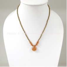 Brass Beads Necklace With Teardrop Pendant (ORANGE)