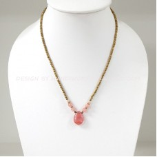 Brass Beads Necklace With Teardrop Pendant (PINK)