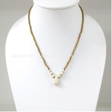 Brass Beads Necklace With Teardrop Pendant (WHITEHOW)