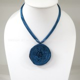 Silk flower necklace (Blue)