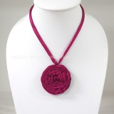Silk flower necklace (Dark Pink)