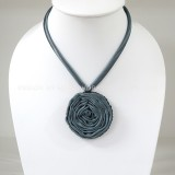 Silk flower necklace (Night Blue)