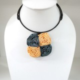 Four Silk flower choker necklace (Grey-Yellow)